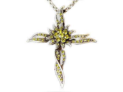 Fashion Cross Sun-Flower Olive Yellow Crystal Rhinestone Necklace Unique Jewelry