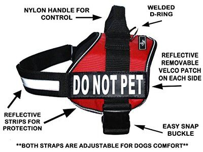 DO NOT PET Dog Vest Harness with Removable velcro Patches and reflective trim.