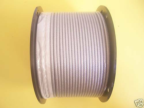 Vinyl Coated Wire Rope Cable 1/8 - 3/16, 7x7: 50,100, 250, 300, 500, 1000  Ft
