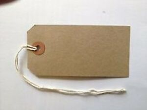 50 Merit Quality Brown Parcel Strung Tags 70mm x 35mm Tie On Craft Labels