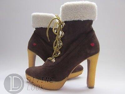 Love Moschino JA2405BH0WJA0301 Ankle Boots Dark Brown Suede Women's 7