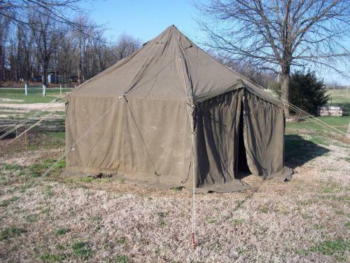 Military canvas tent ebay for Canvas tent fly
