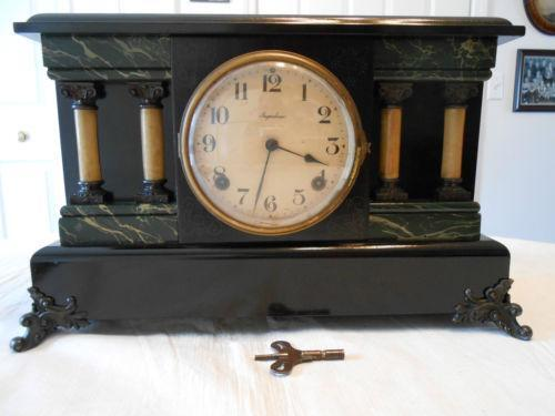 Antique Black Mantel Clock Ebay