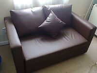 Chocolate Faux Leather 2 Seater Sofa Bed