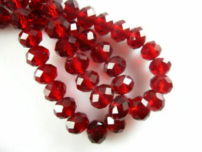300pcs 3x4mm Red Crystal Faceted Abacus Loose Beads Gemstone