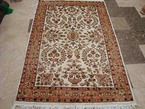 Wow Abrask Ivory Medallion Classic Area Rug Hand Knotted Wool Silk Carpet (6 x 4)'