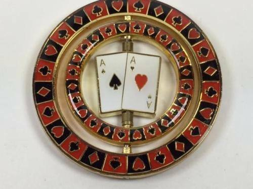 Triple Aces Spinning Spinner Suited Card Guard Poker Hand Protector Metal NEW