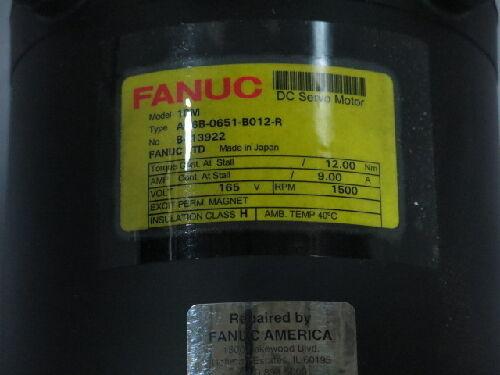 Fanuc A06b-0651-b012-r Dc Servo Motor, 165 Vdc, 1500 Rpm, 9 Amp (rts0413.350)