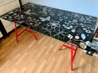 Beautiful Glass Table Top Ikea With Flower and Butterfiles