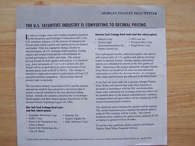 Morgan Stanley Dean Witter Historic Document Nyse Ase Fraction To Decimal Change
