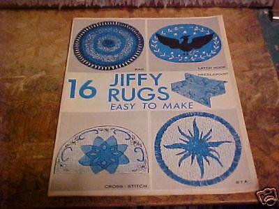 1968 BOOKLET 16 JIFFY RUGS EASY TO MAKE RAG LATCH HOOK