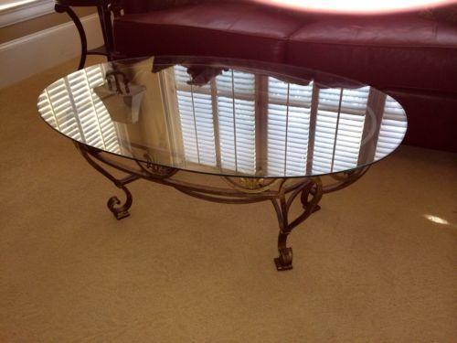 Wrought Iron Glass Top Table Ebay
