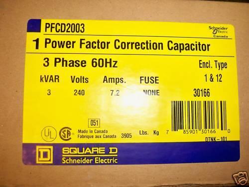 Square D PFCD2003 3KVAR 240V Power Factor Capacitor New