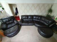 DFS real leather corner sofa set