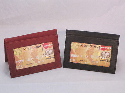CREDIT CARD OUTSIDE ID HOLDER WALLET SET OF 2 SMALL SLIM BLACK BROWN NEW