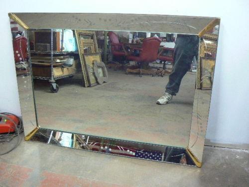 Antique Etched Beveled Mirror Ebay