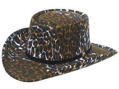 Leopard Print Felt COWBOY GAMBLER HAT - Leather Band - Adult L - 7 1/4 to 7 3/8](Leopard Print Cowboy Hat)