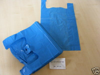 PLASTIC CARRIER BAGS - 1000 BLUE VEST STYLE BAGS 11 x 17 x 21 INCH - NEW