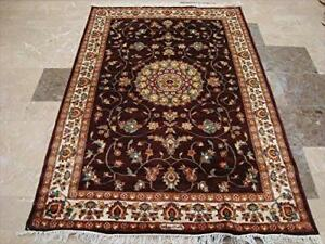 Love Dark Mehroon Red Floral Area Rug Hand Knotted Wool Silk Carpet (6 x 4)'