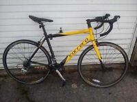 "CARRERA TDF ROAD BIKE, BLACK/ YELLOW, MEDIUM 20"" FRAME, NICE RIDE, LED LIGHTS."