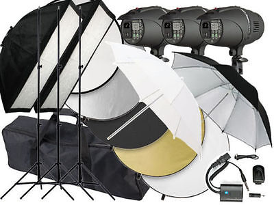 900w Flash Photo Studio Strobe light 3 x 300w heads P-300 LED 900 Reflector Kit