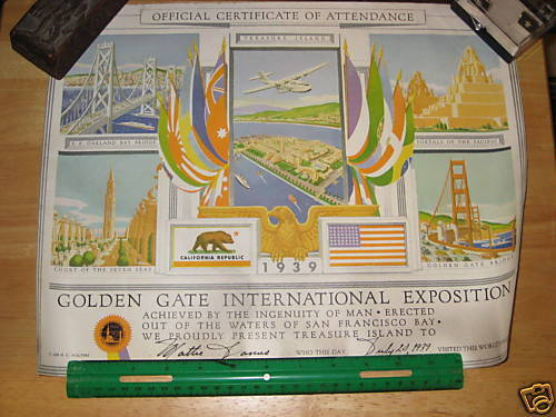 1939 Golden Gate Expo Certificate of Attendance Poster     wf