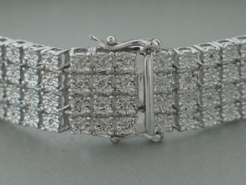 4 Row Men's Tennis Bracelet with Natural Diamonds in White Gold Finish 6