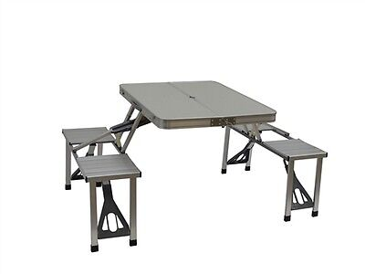 Folding Picnic Table w/ 4 Attached Bench Seats, One-piece mechanism, No assembly