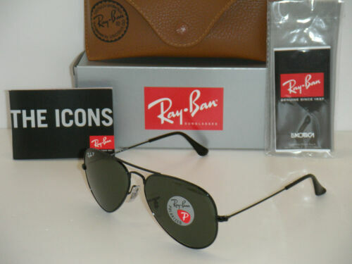 NEW RAYBAN AVIATOR 3025 Aviator Black FRAME POLARIZED RB3025 L2823 58MM
