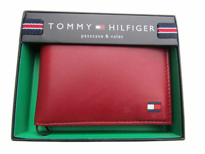 NEW MEN'S TOMMY HILFIGER LEATHER CREDIT CARD WALLET PASSCASE BIFOLD 4891-09 RED