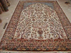 Excellent Tree of Life Peace Birds Rectangle Area Rug Wool Silk Hand Knotted Carpet (10.4 x 7.2)'