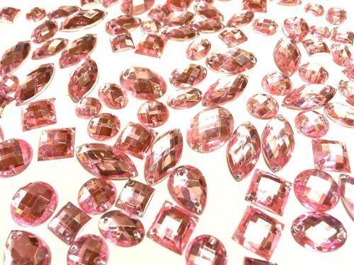 CraftbuddyUS 80 pieces Pink Faceted Acrylic Sew On Crystal Rhinestone Gems