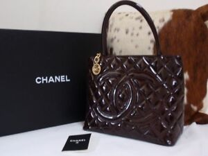 Chanel Medallion Quilted Patent Calf Leather Tote Bag Rare Colour Brighton Bayside Area Preview