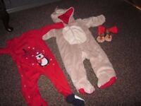 Baby Boy Christmas Reindeer outfit, 1st Christmas grow and Next Reindeer Booties