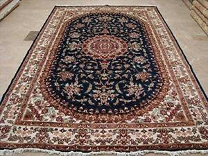 Awesome Blue Medallion Floral Oriental Rug Hand Knotted Wool Silk Carpet (10 x 7)'