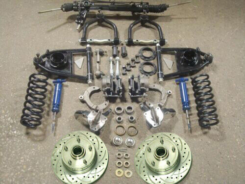 Mustang II 2 Suspension Kit Power Stock Spindles Chevy Slotted Rotors IFS Hub