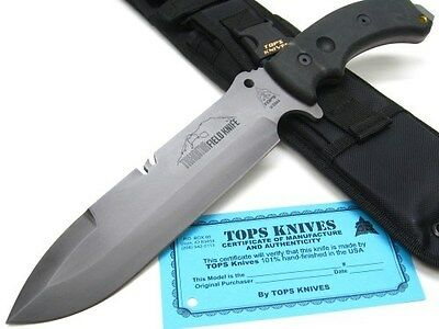 TOPS Black TAHOMA FIELD Straight Fixed Blade HUNTING Knife + Sheath! TAHOBC
