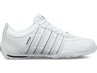 New K Swiss Arvee 1.5 Mens Classic White Blue Lace Up Trainers Shoes Size 7-12