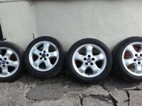 4 x ALLOY WHEELS WITH GOOD TYRES/ CARS/VANS