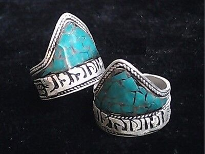 Adjustable Tibetan Turquoise Inlay Delicate Carved OM Mani Padme Hum Amulet Ring