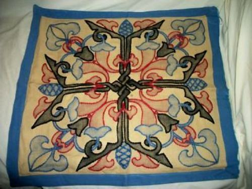 ANTIQUE ARTS & CRAFTS LINEN TINTED PILLOW COVER CELTIC KNOT AUTHENTIC ESTATE