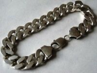 """Sterling silver 925 Curb Chain Bracelet Heavy thick 9"""" 61g Grams"""