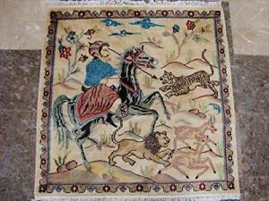 Hunting King Lion Deer Tiger Horse Hand Knotted Wool Silk Square Rug Carpet (3 x 3)'