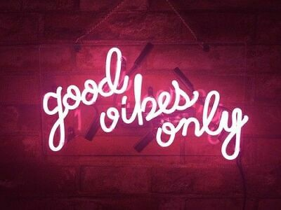 "New Good Vibes Only Pink Neon Light Sign 14"" Lamp Beer Pub A"