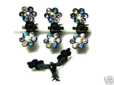 Swarovski Haar (NEU 4 HAARKLAMMERN Set SWAROVSKI STEINE multi/kristall AB HAARKLAMMER HAARCLIP)