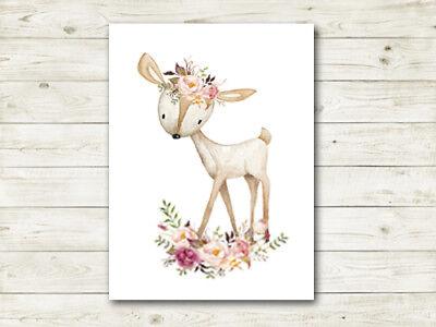 Boho Deer Woodland Nursery Print Wall Art Baby Girl Room Decor Bohemian Fawn