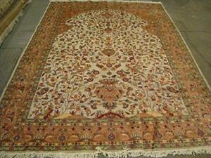 Mehrab Vase Life Floral Exclusive Designed Rectangle Area Rug Wool Silk Hand Knotted Carpet (10.2 x 7.3)'