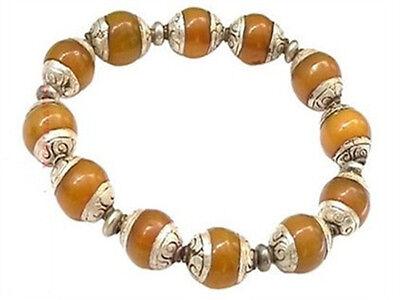 Tibetan 12X10mm 925 Silver Repousse Beeswax Amber Beads Beaded Bracelet