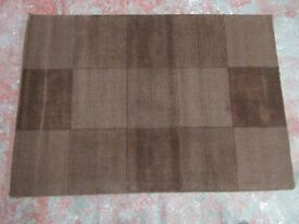 FLAIR WOOL SQUARES RUG - CHOCOLATE - 110 x 160 cm - ONLY £30 !!