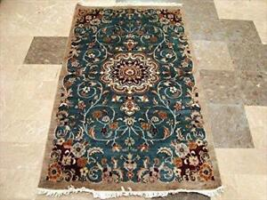 Exclusive Floral Area Rug Hand Knotted Wool Silk Carpet (5 x 3)'